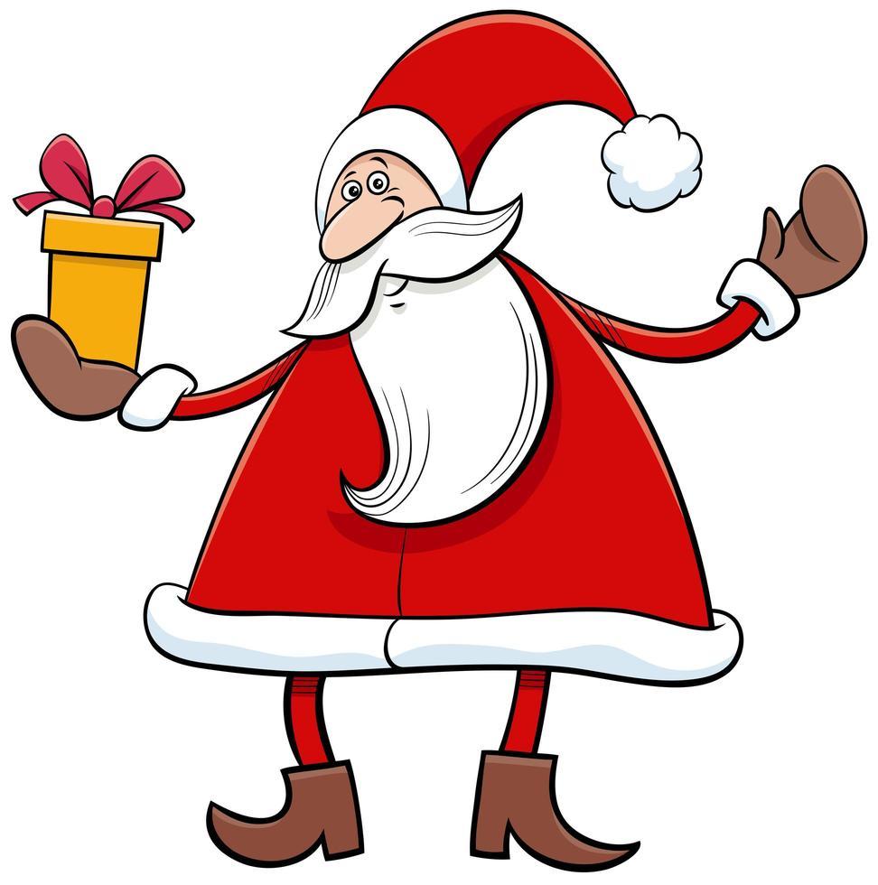 jultomten seriefigur med julklapp vektor