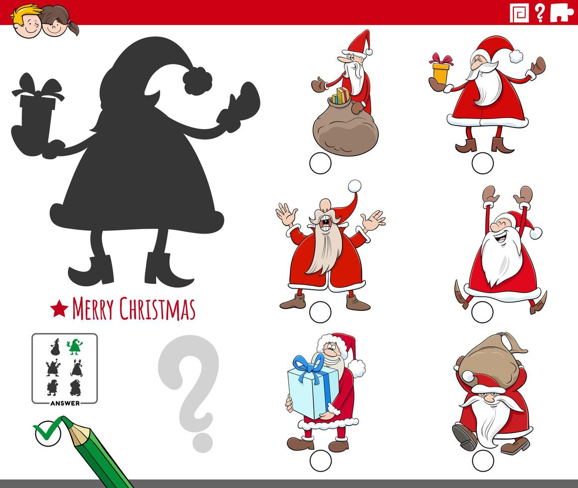 skuggor uppgift med tecknade jultomten karaktärer vektor