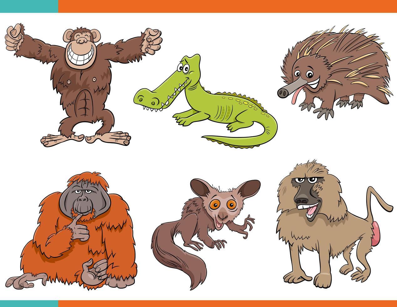 Satz lustige wilde Tierfiguren des Cartoons vektor
