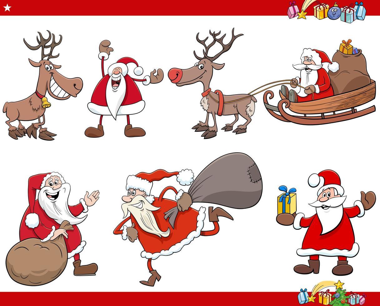 Cartoon Santa Claus Weihnachtsferien Zeichen gesetzt vektor