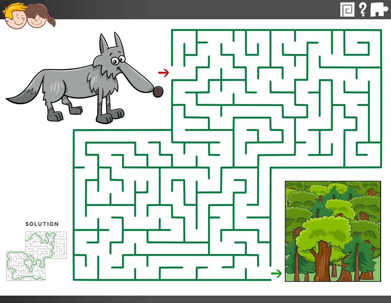 Labyrinth-Lernspiel mit Wolf und Wald vektor