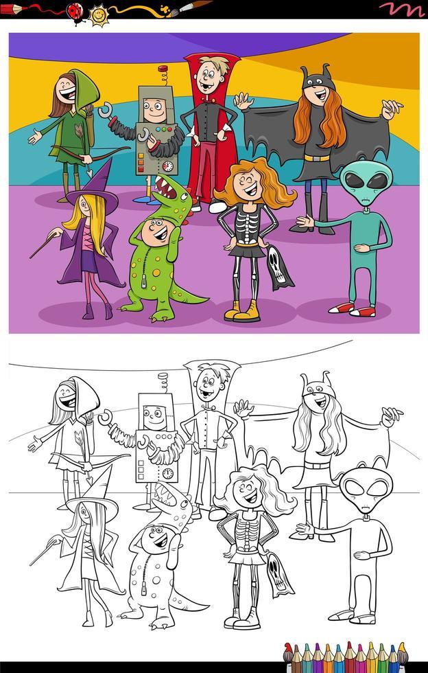 tecknade halloween karaktärer grupp målarbok sida vektor