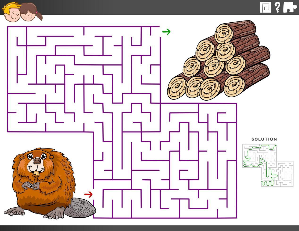 Labyrinth-Lernspiel mit Biber- und Holzstämmen vektor