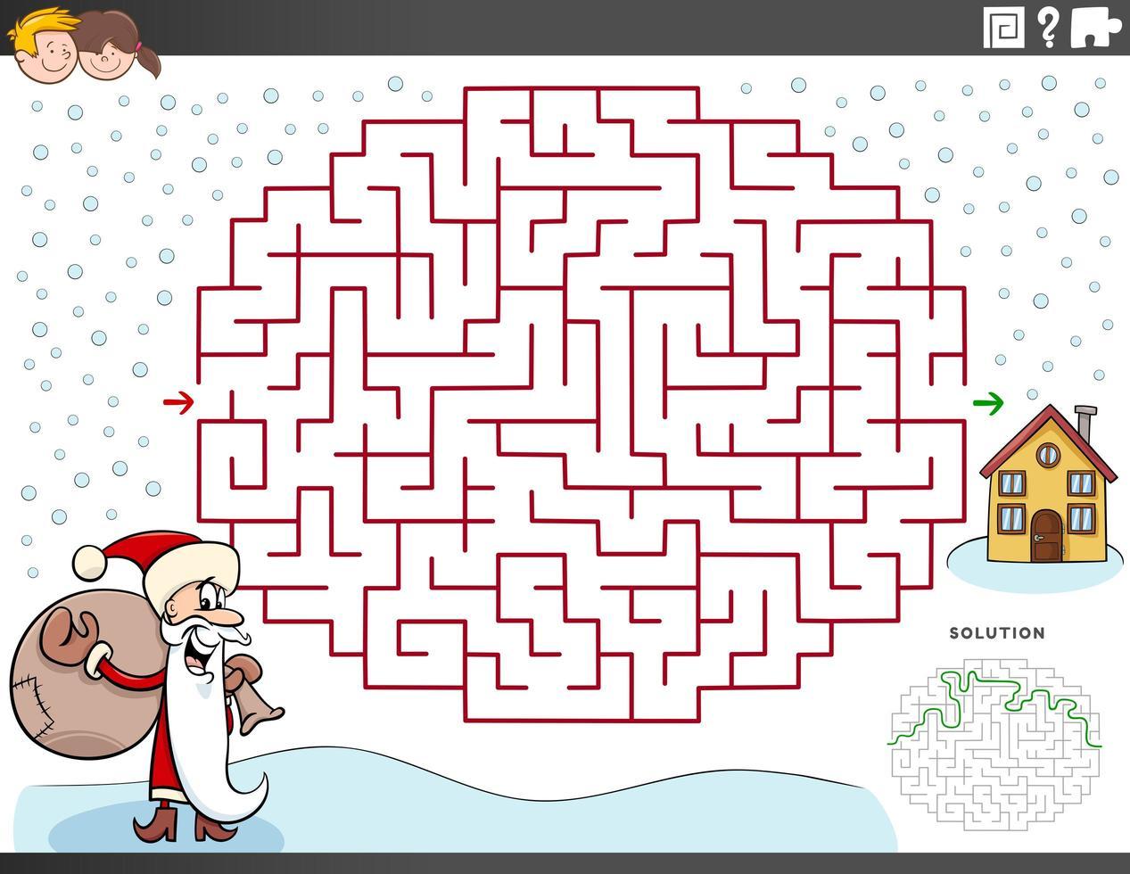 labyrint spel med jultomten på juletid vektor
