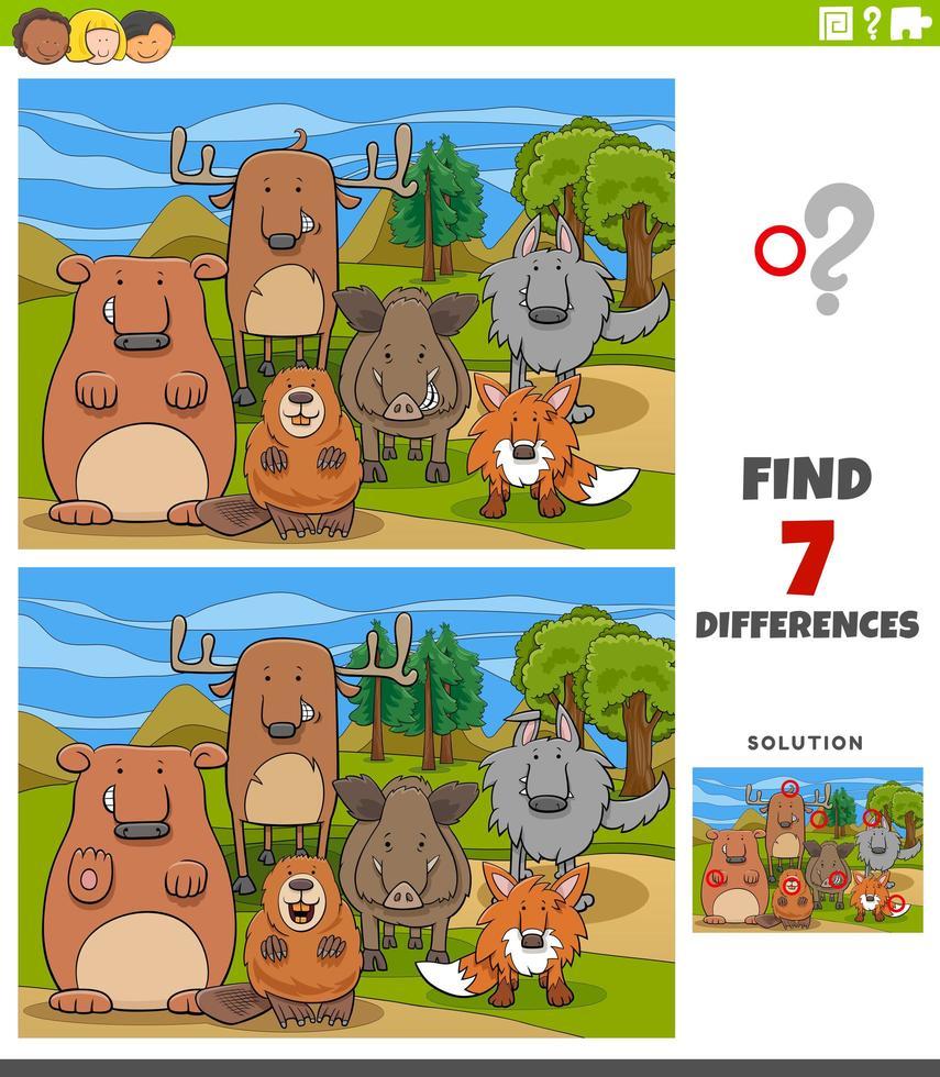Unterschiede pädagogische Aufgabe für Kinder mit wilden Tieren vektor