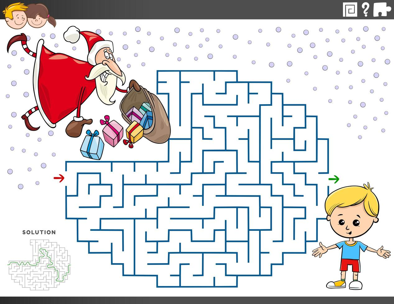 Labyrinthspiel mit Weihnachtsmann mit Weihnachtsgeschenken vektor