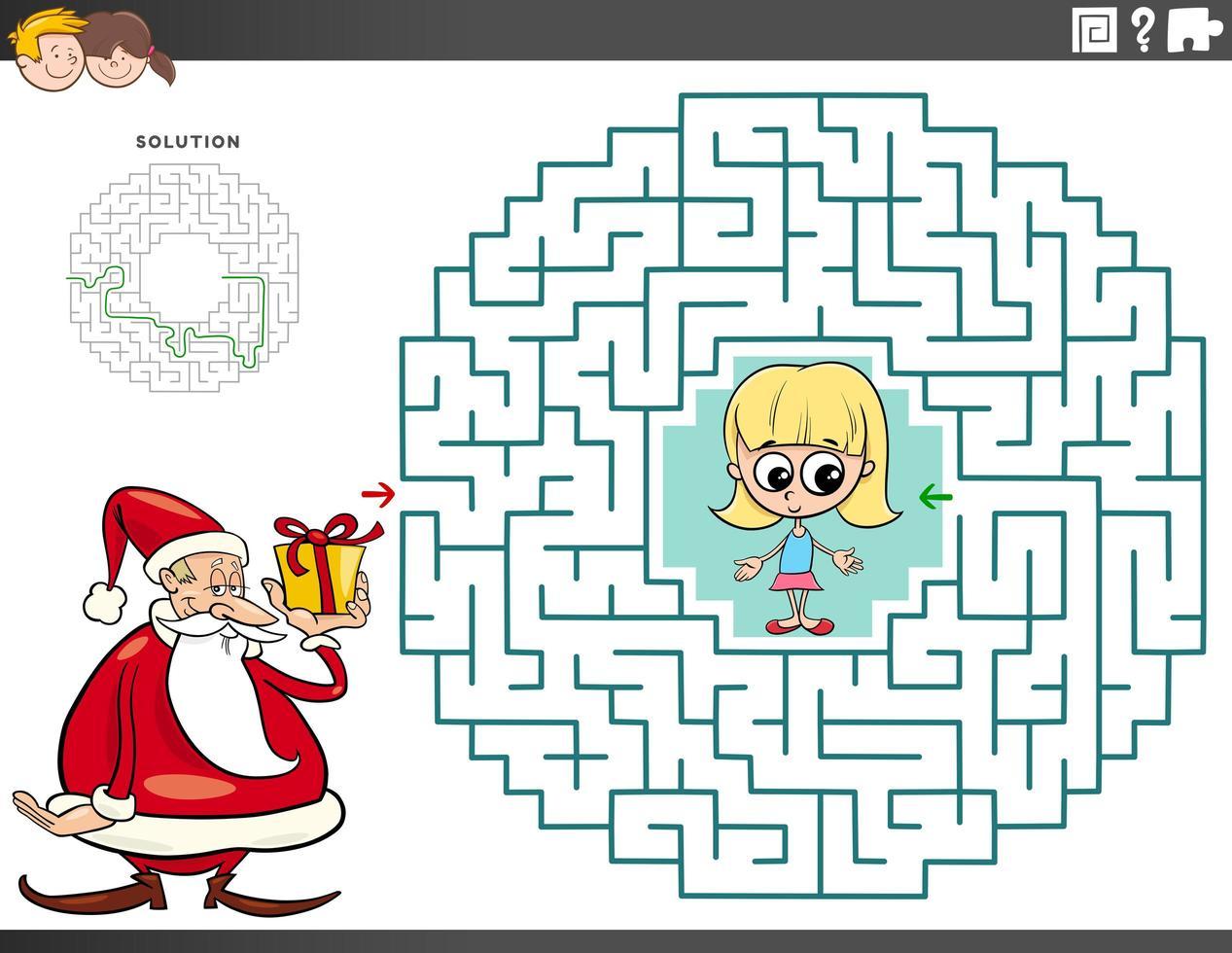 labyrint pedagogiskt spel med jultomten med gåva vektor