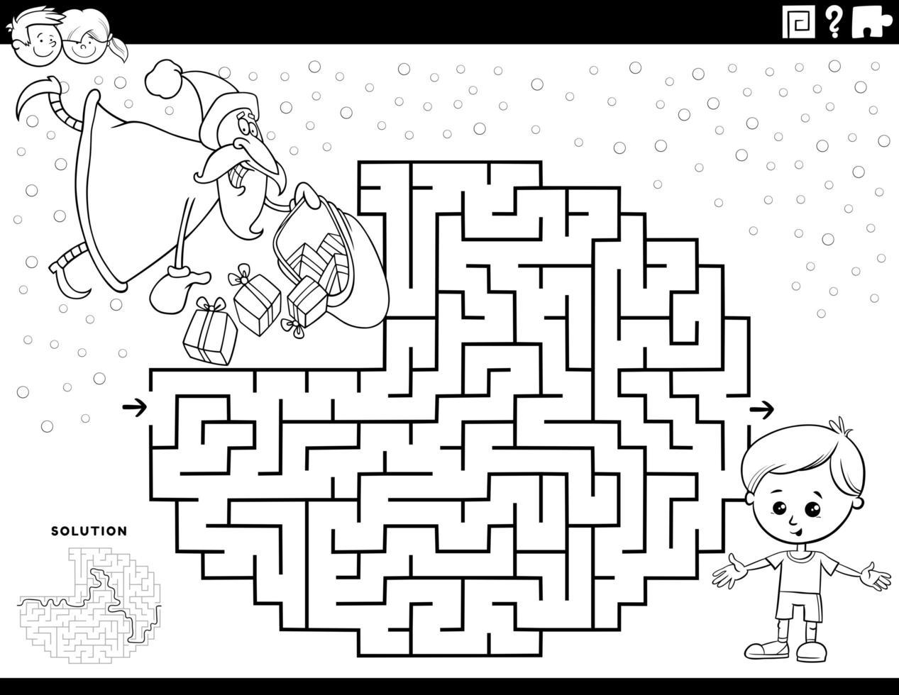 Labyrinthspiel mit Weihnachtsmann Malbuchseite vektor