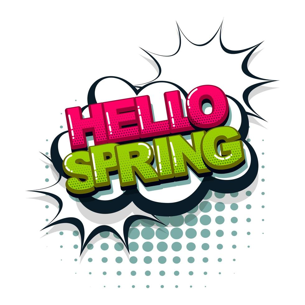 Hallo Frühlings-Comic-Text-Pop-Art-Stil vektor