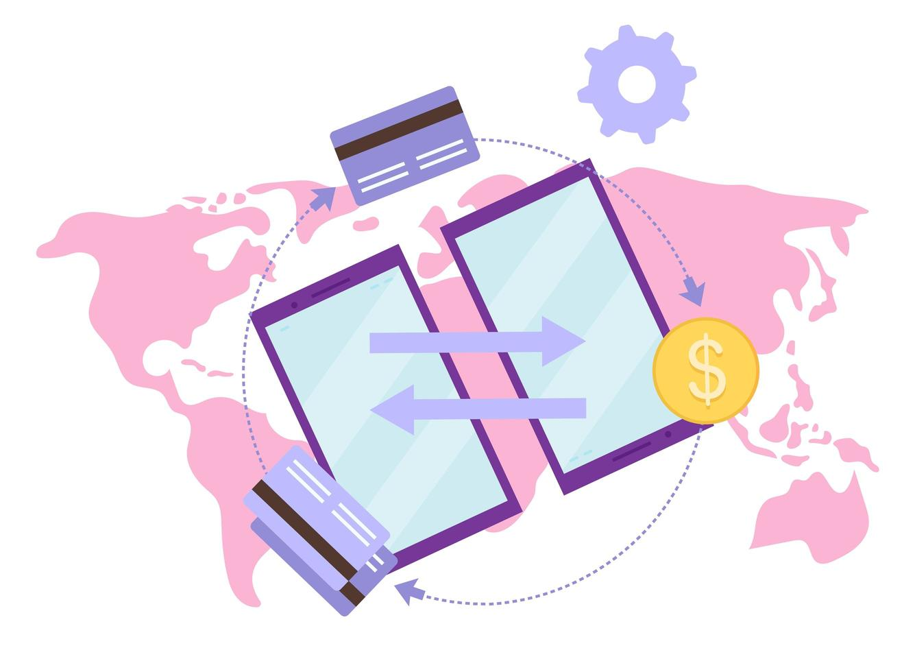 globala betalningssystem platt vektorillustration vektor