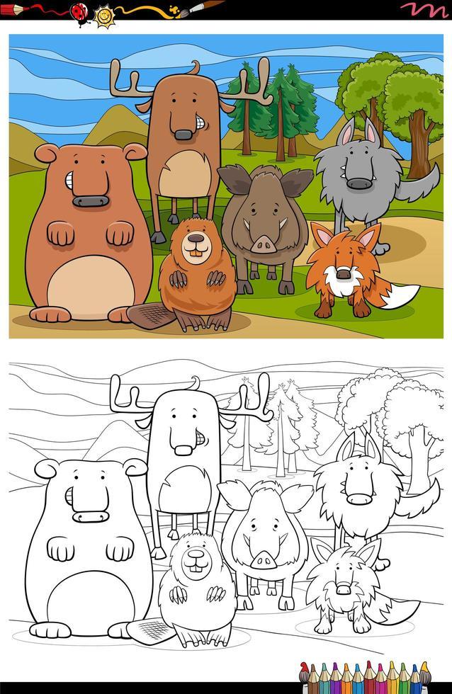 Cartoon lustige wilde Tiere Gruppe Malbuch Seite vektor