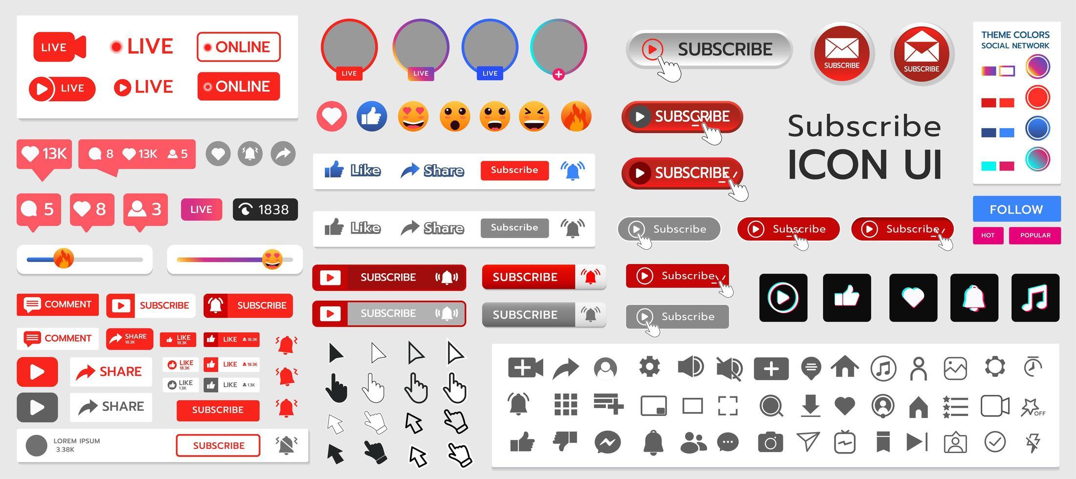 prenumerera och sociala medier ui kit vektor
