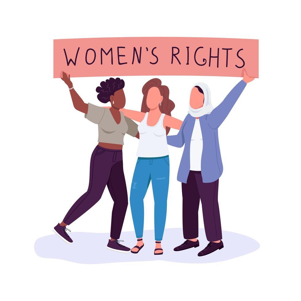 kvinnors rättigheter, platt färgvektor med ansiktslösa karaktärer vektor