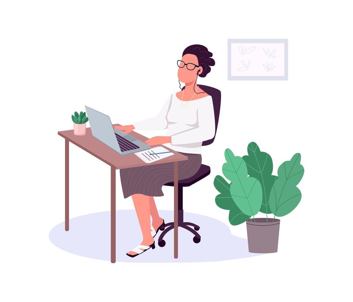 Frau, die mit Laptop, flachem Farbvektor, gesichtslosem Charakter arbeitet. vektor