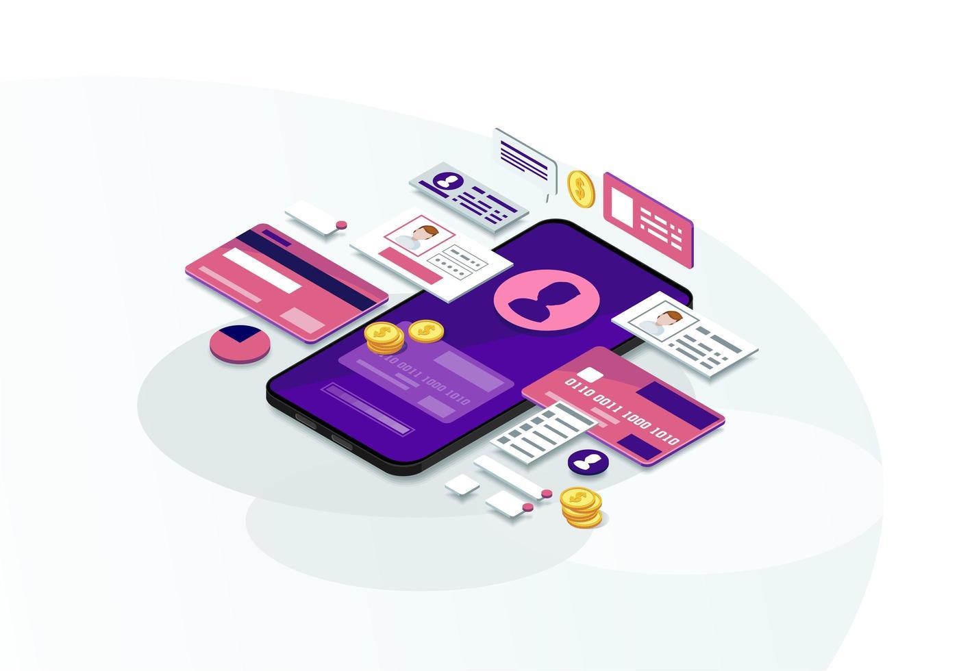 mobilbank isometrisk färgvektorillustration vektor