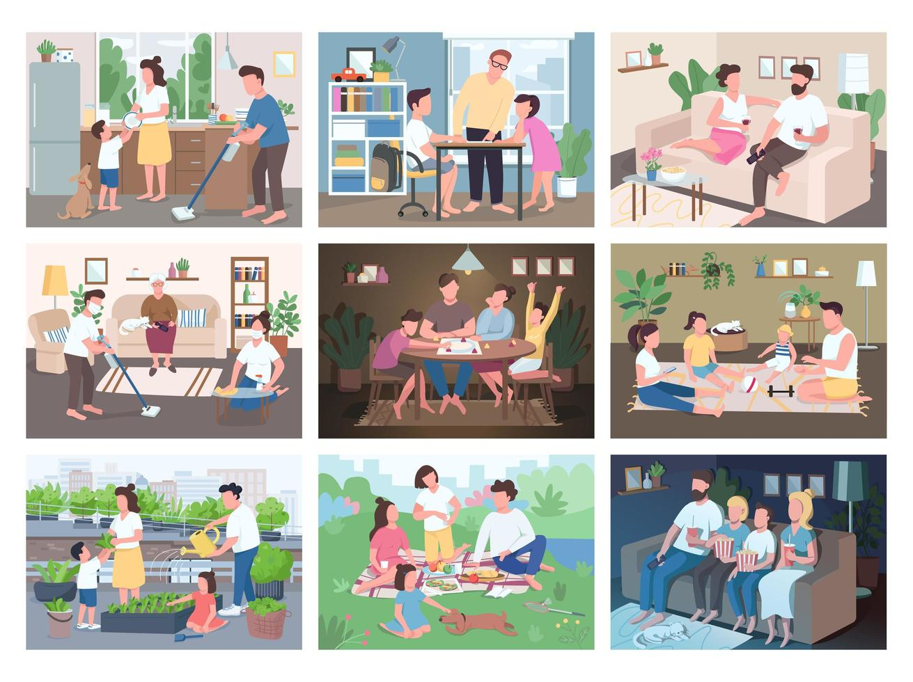 familj rutin platt färg vektor illustrationer set.