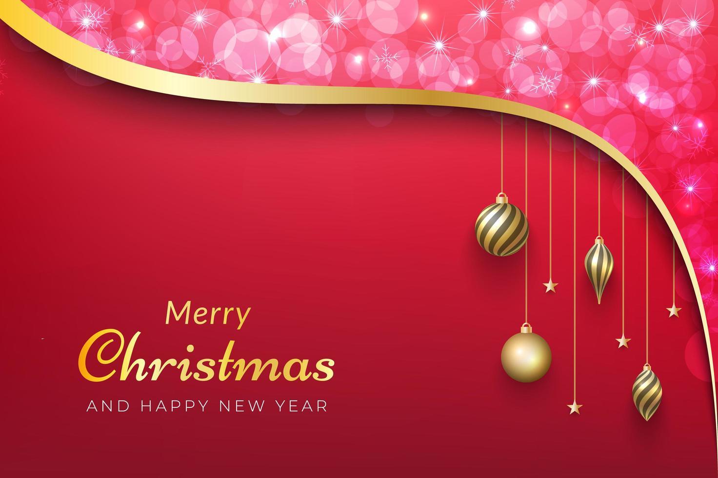 Weihnachtshintergrund mit rosa Bokeh, Goldband und Ornamenten vektor
