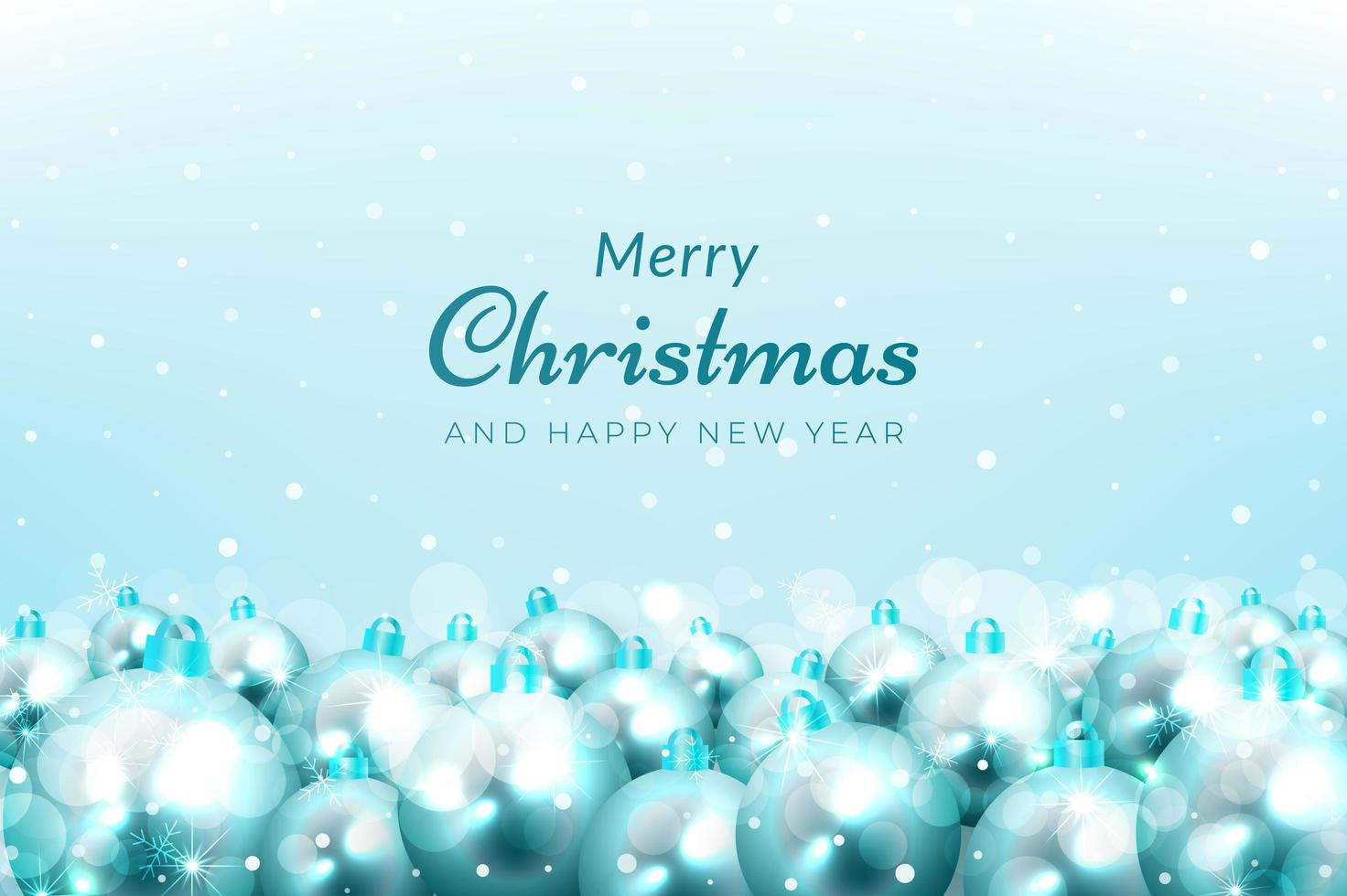 Weihnachtsfeier Hintergrund mit Schnee und blauen Ornamenten vektor