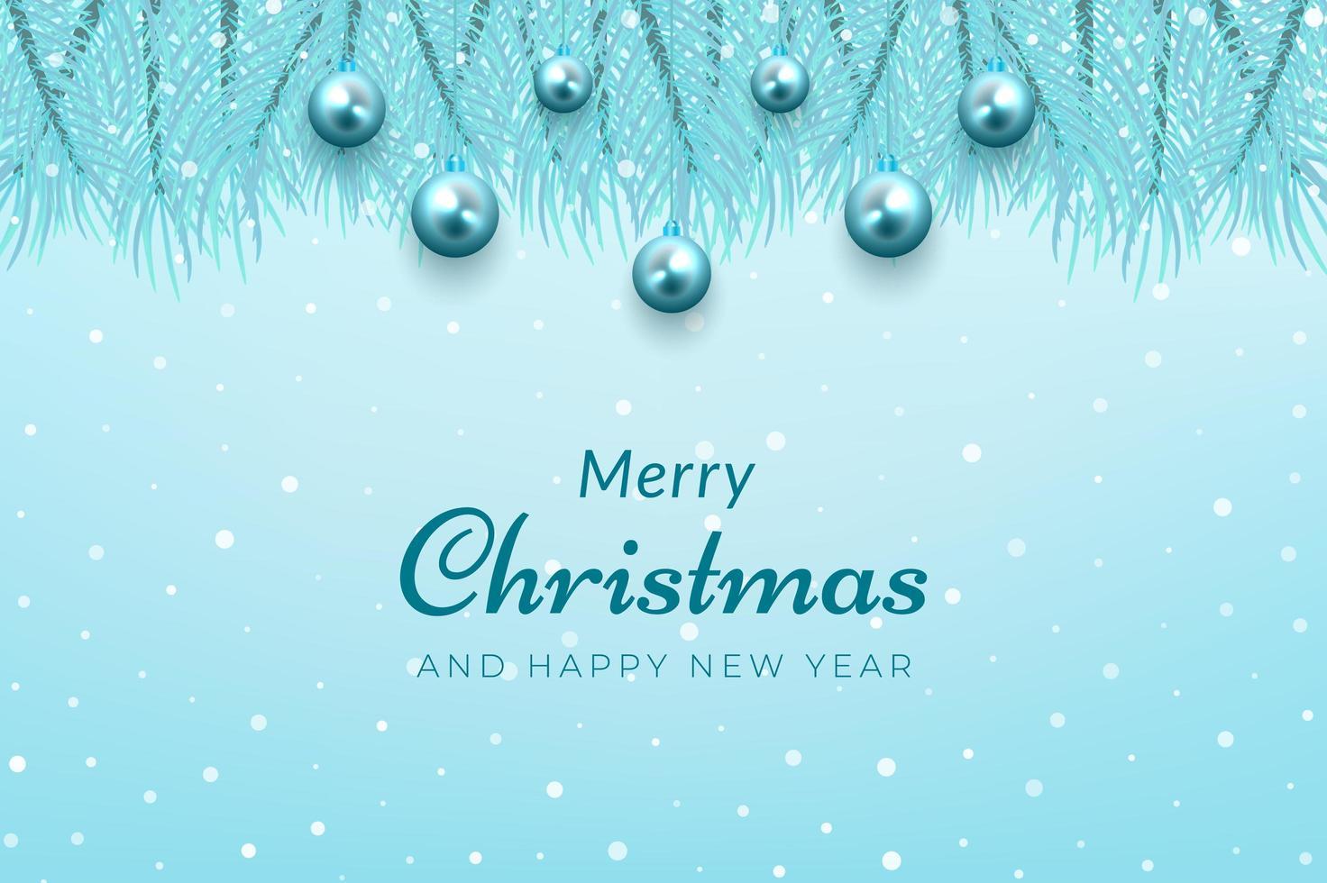 jul firande bakgrund blå trädgrenar och ornament vektor