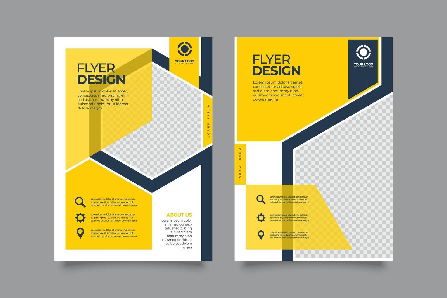 Flyer mit gelben und blauen geometrischen Unternehmensberichten vektor
