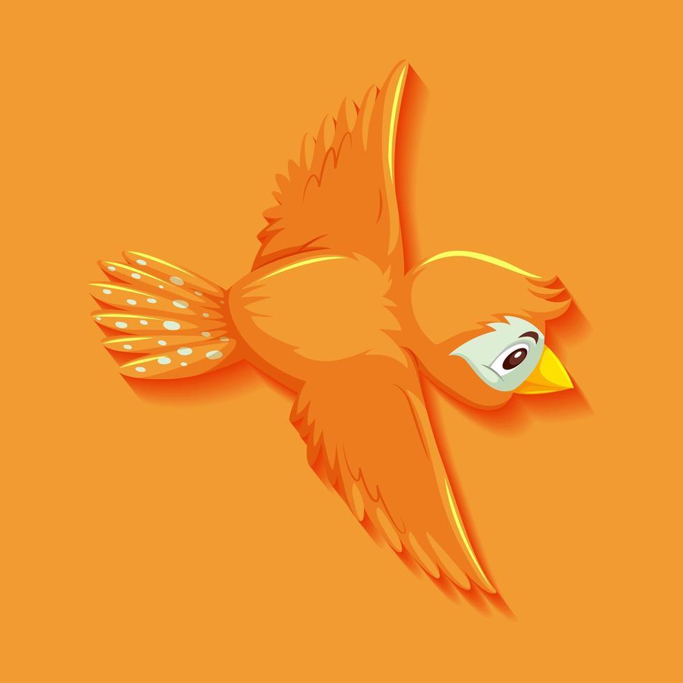 söt orange fågel seriefigur vektor