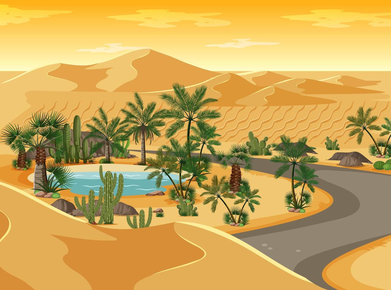 Wüstenoase mit langer Straßenlandschaftsszene vektor