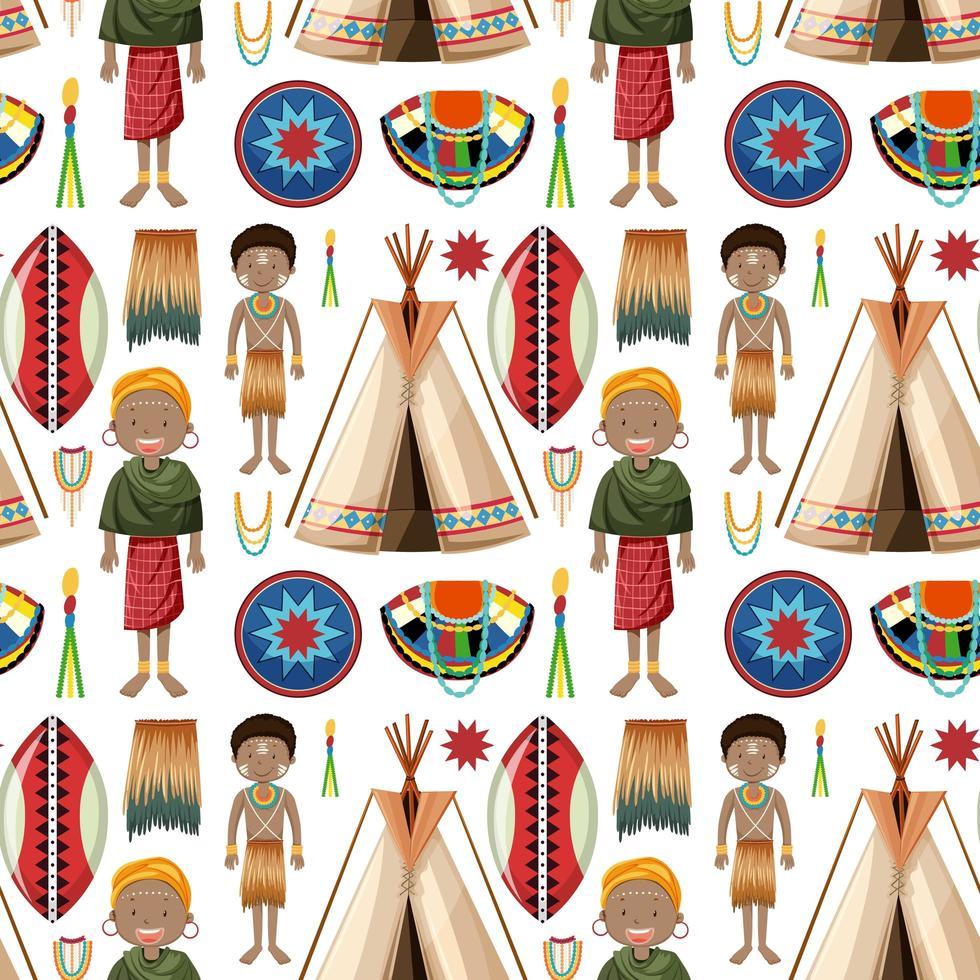 etniska människor av afrikanska stammar mönster vektor