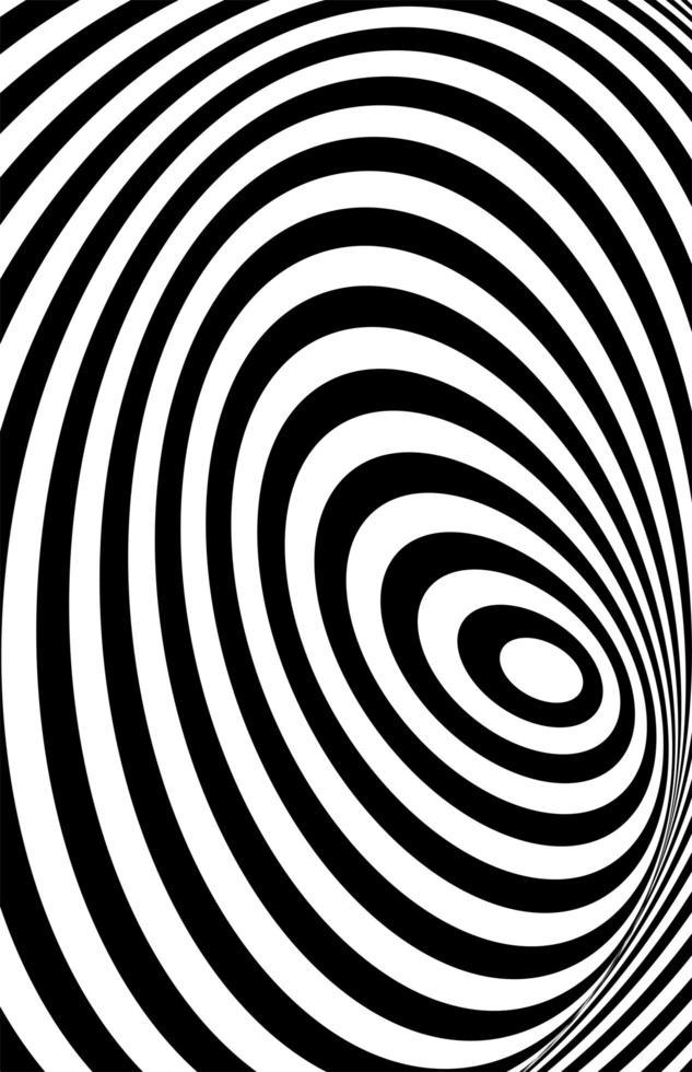 svart vit 3d-linje, förvrängningsillusion vektor