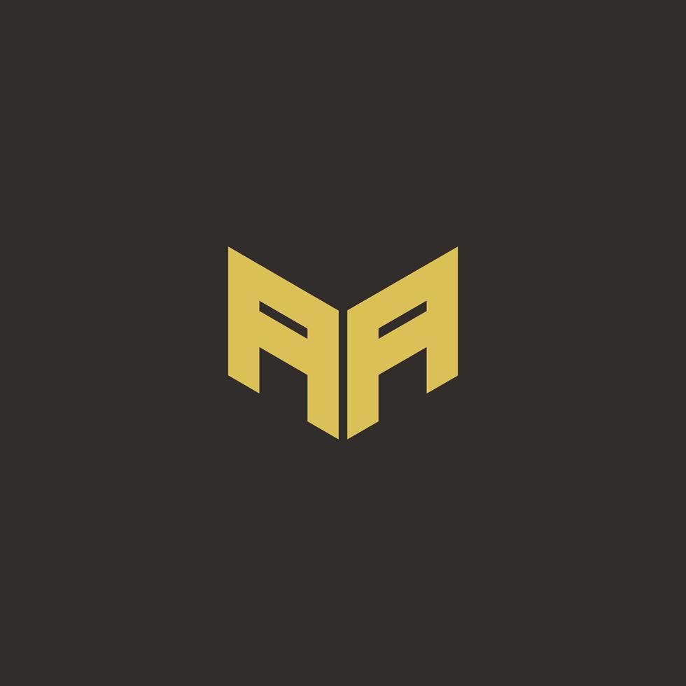 aa logobrev med guld och svart bakgrund vektor