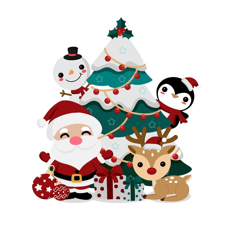 jul gratulationskort med jultomten och vänner vektor