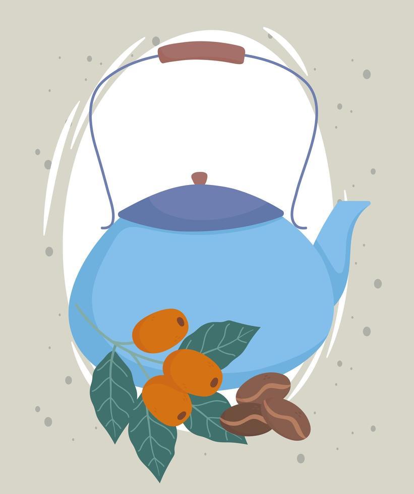 blauer Wasserkocher mit Kaffeefrüchten vektor