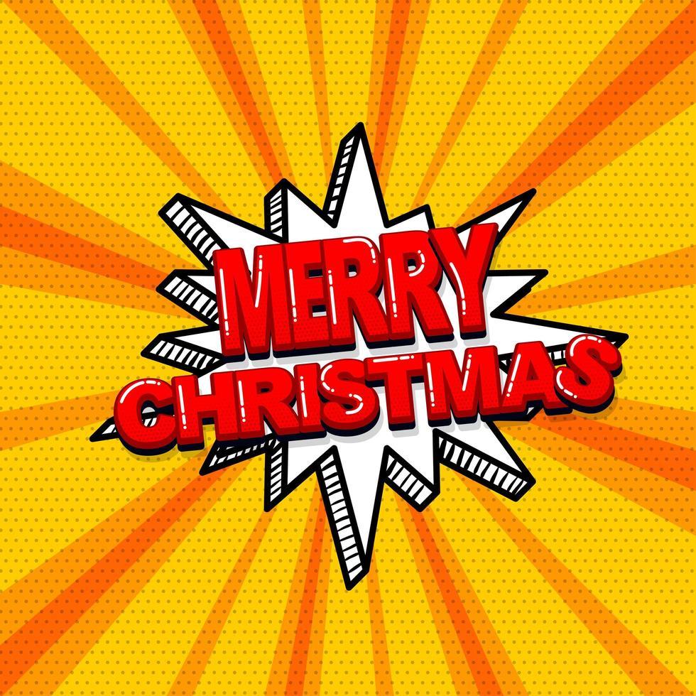 Pop-Art-Comic Frohe Weihnachten Textdesign vektor