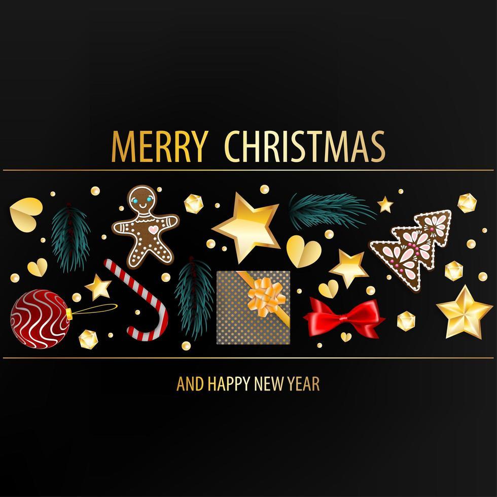 mörkt vykort med julelement vektor