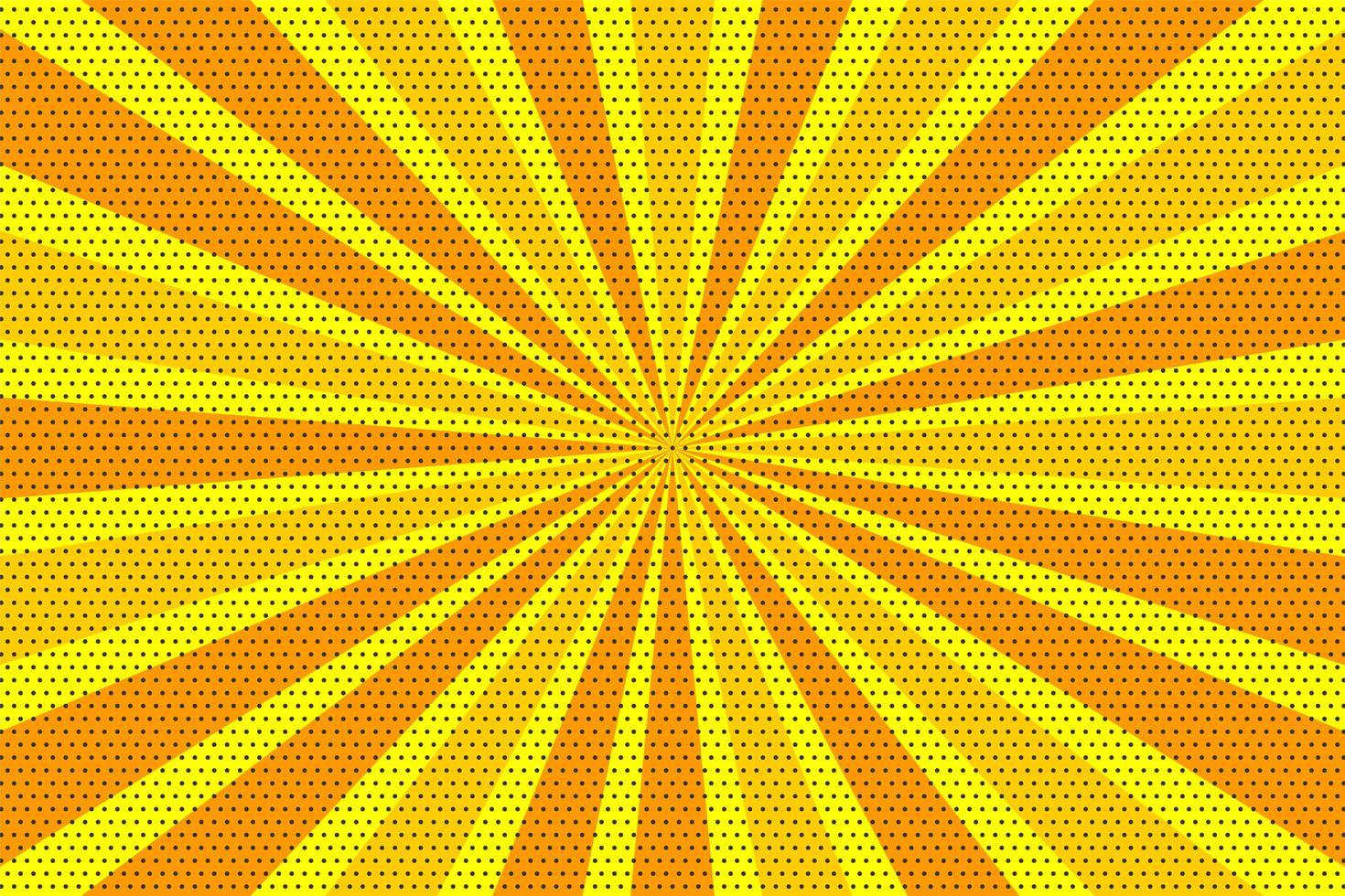 gul och orange popkonst vintage radiell halvton bakgrund vektor