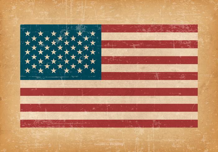 Amerikanska flaggan på grungebakgrund vektor