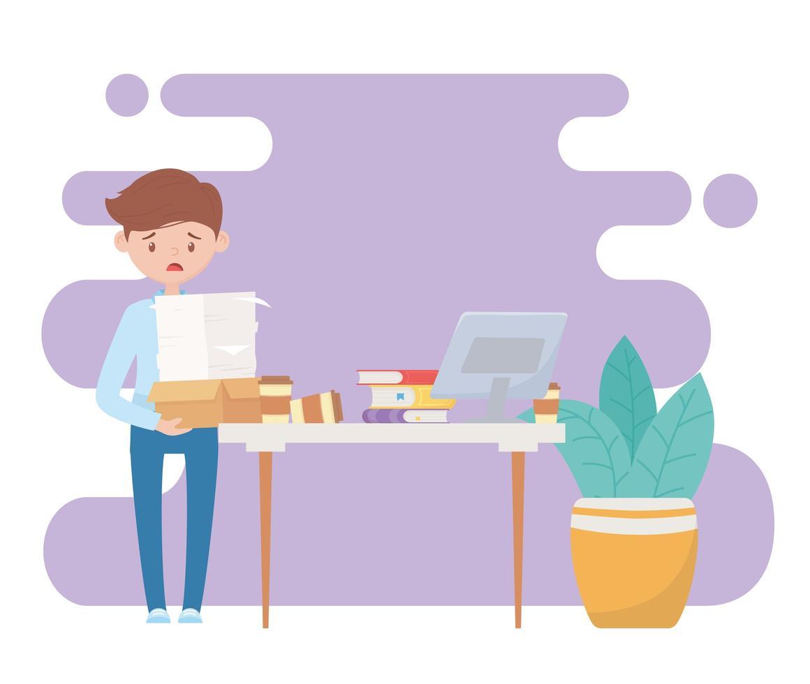 stressad, överansträngd anställd vektor