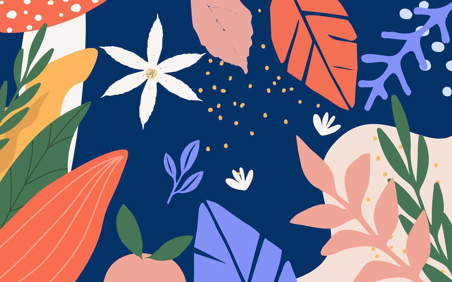 Blätter und Blumen Poster Hintergrund vektor