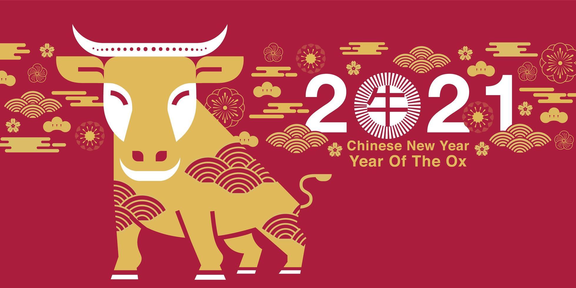 kinesiskt nyår 2021 år av oxdesignen vektor