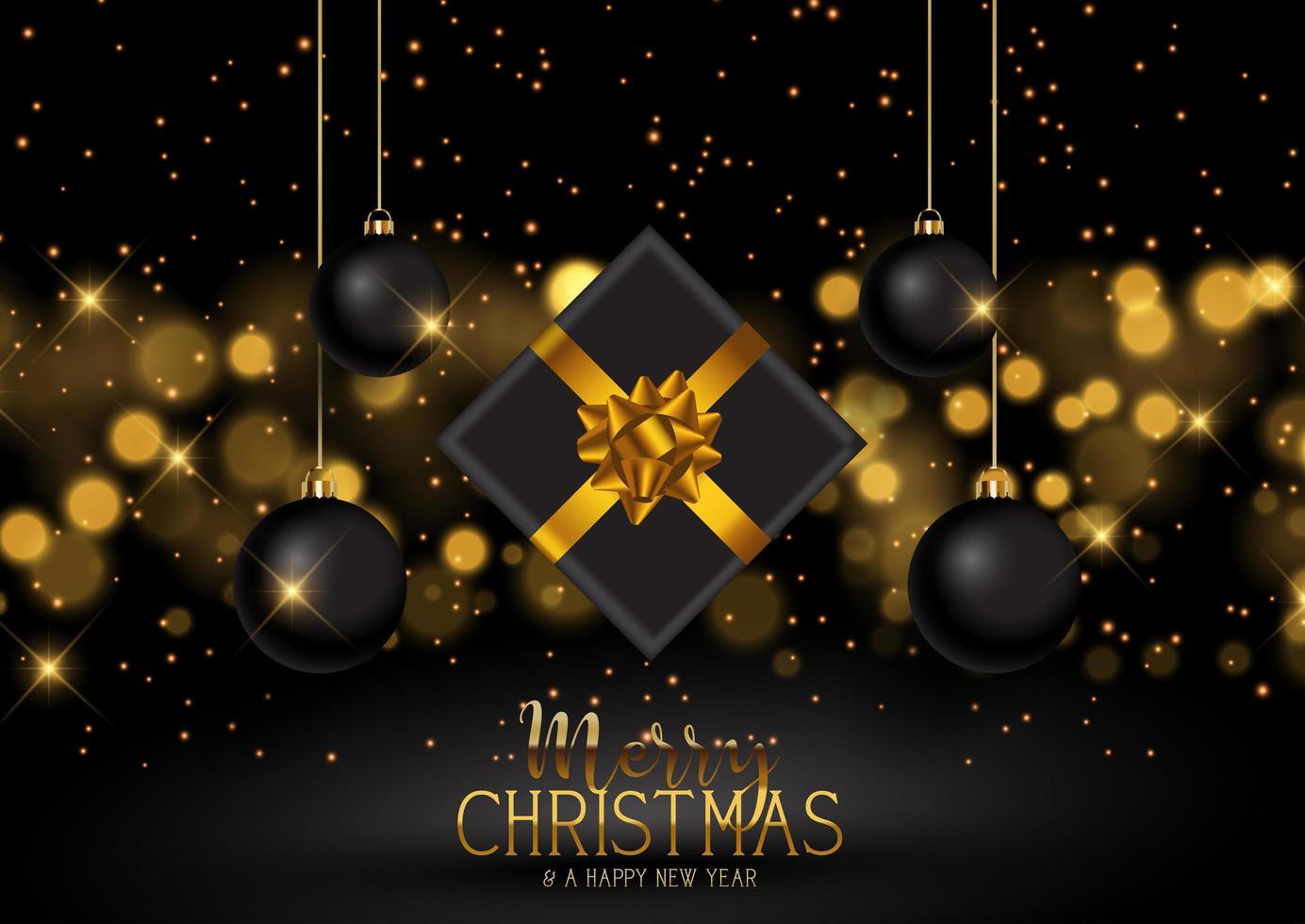 Weihnachtsgeschenk und Kugeln Hintergrund vektor