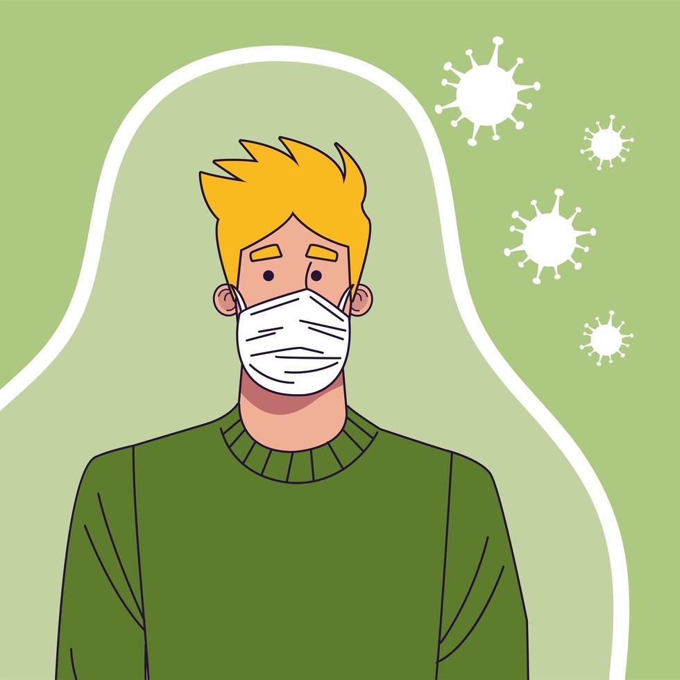 ung man som bär medicinsk mask karaktär vektor