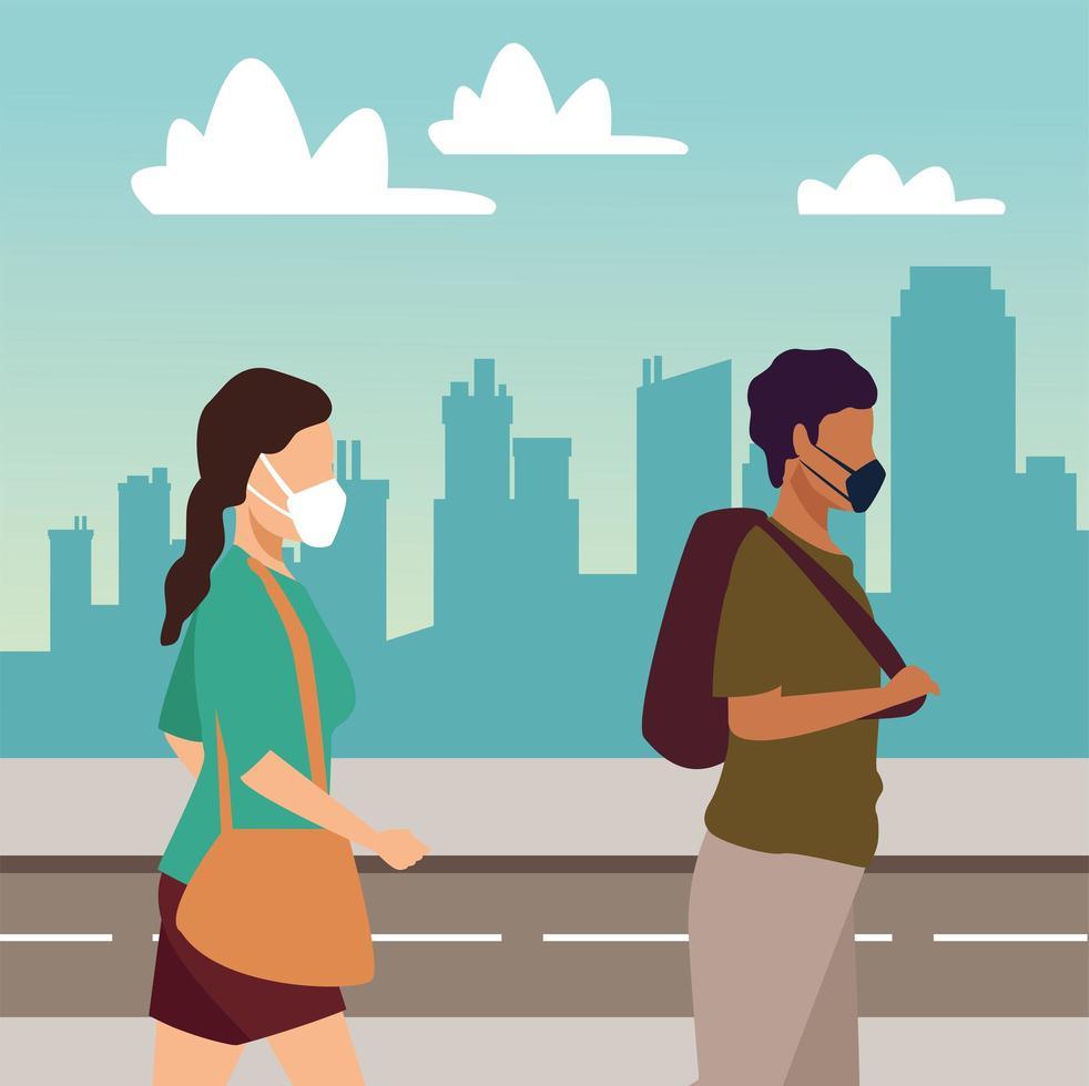 junges Paar, das medizinische Masken auf der Straße trägt vektor