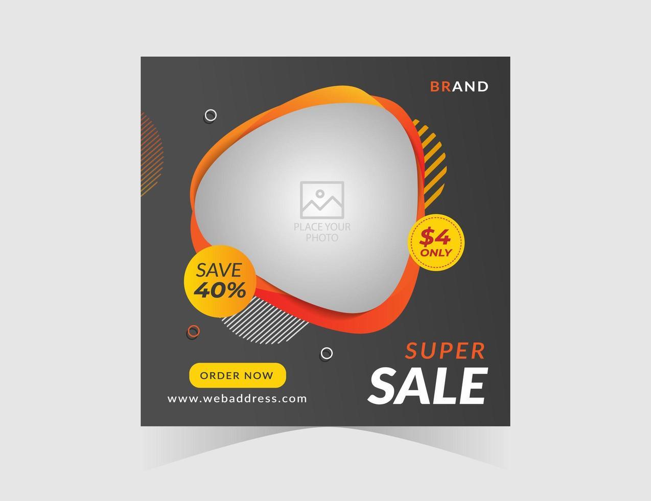 super försäljning abstrakt form social media post designmall vektor