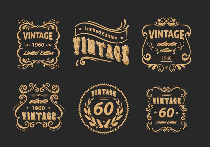 Vintage Label Blumenscrollwork Vector Pack