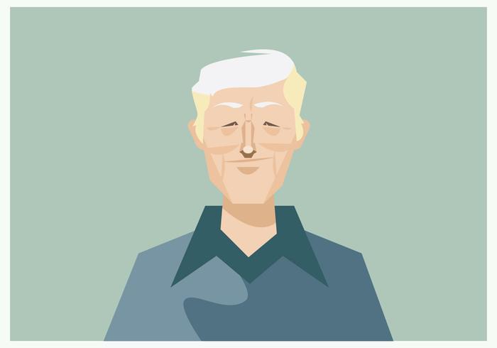 Kopfbild von lächelnden alten Mann mit blauem Hemd Vektor
