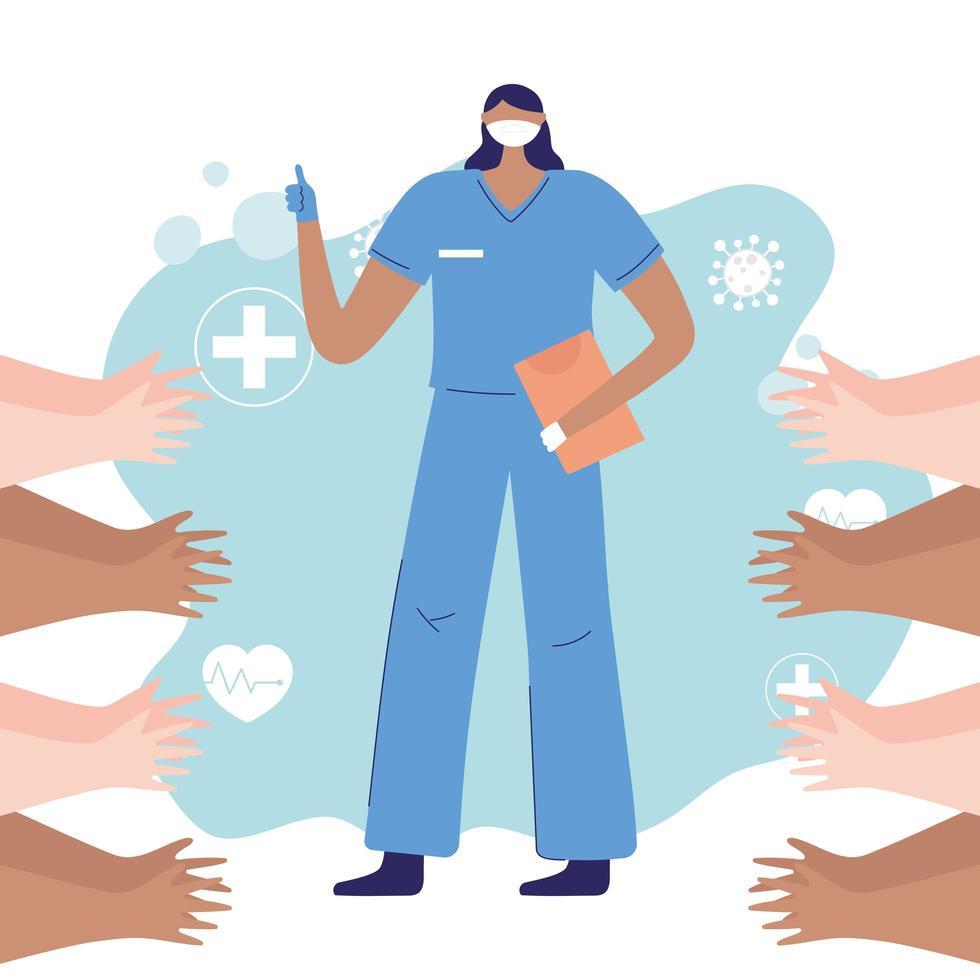 människor som klappar för sjuksköterska under koronavirusutbrott vektor