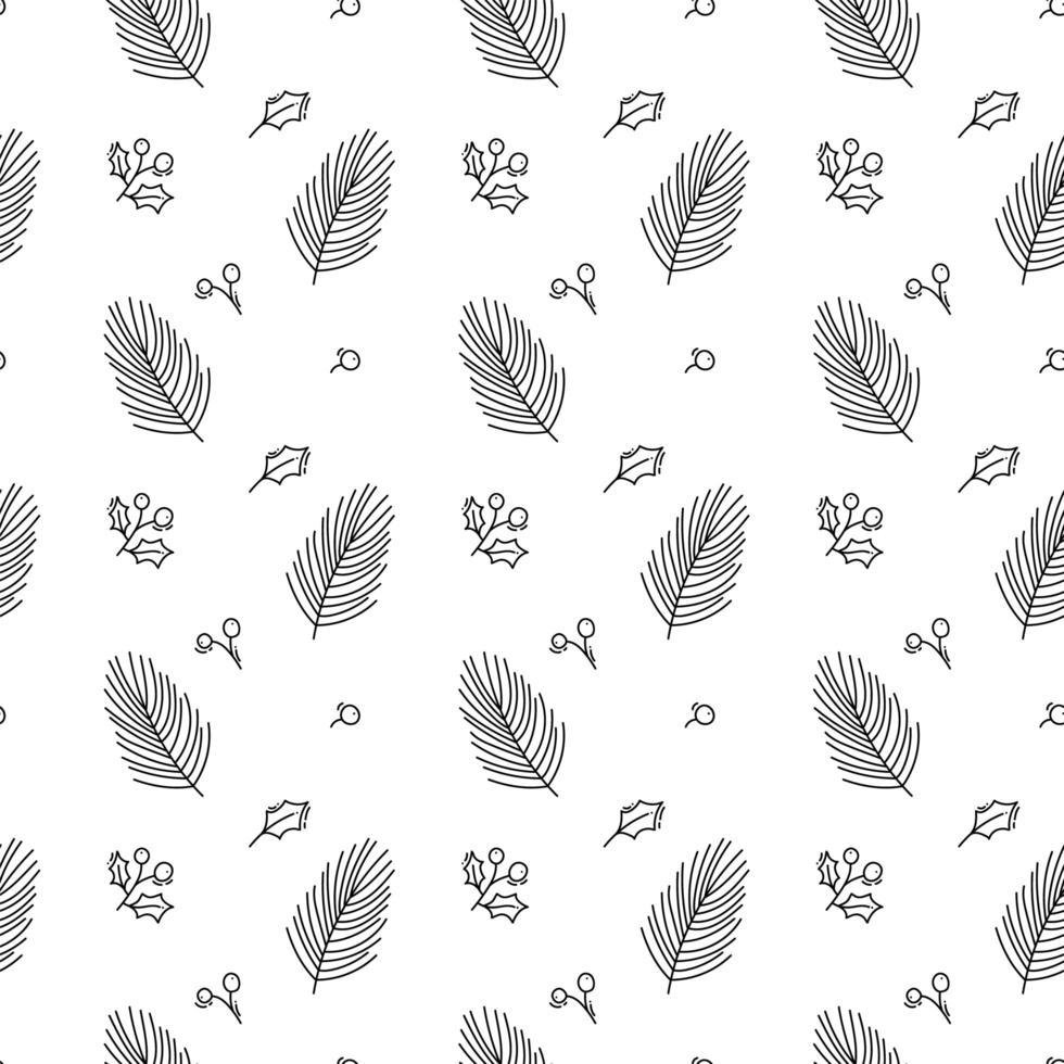Weihnachten minimalistisches nahtloses Muster mit Blättern vektor