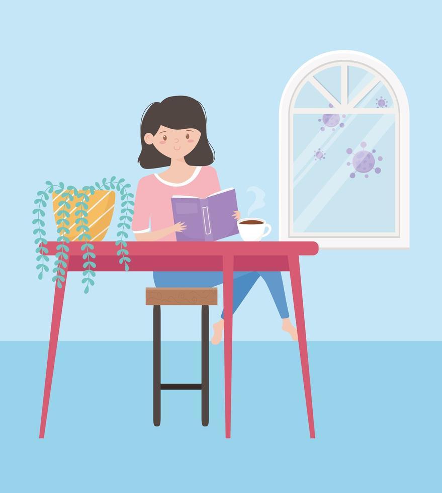 ung kvinna läser bok inomhus vektor
