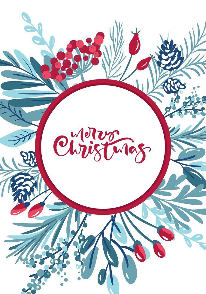 god jul kalligrafi i ram omgiven av lövverk vektor