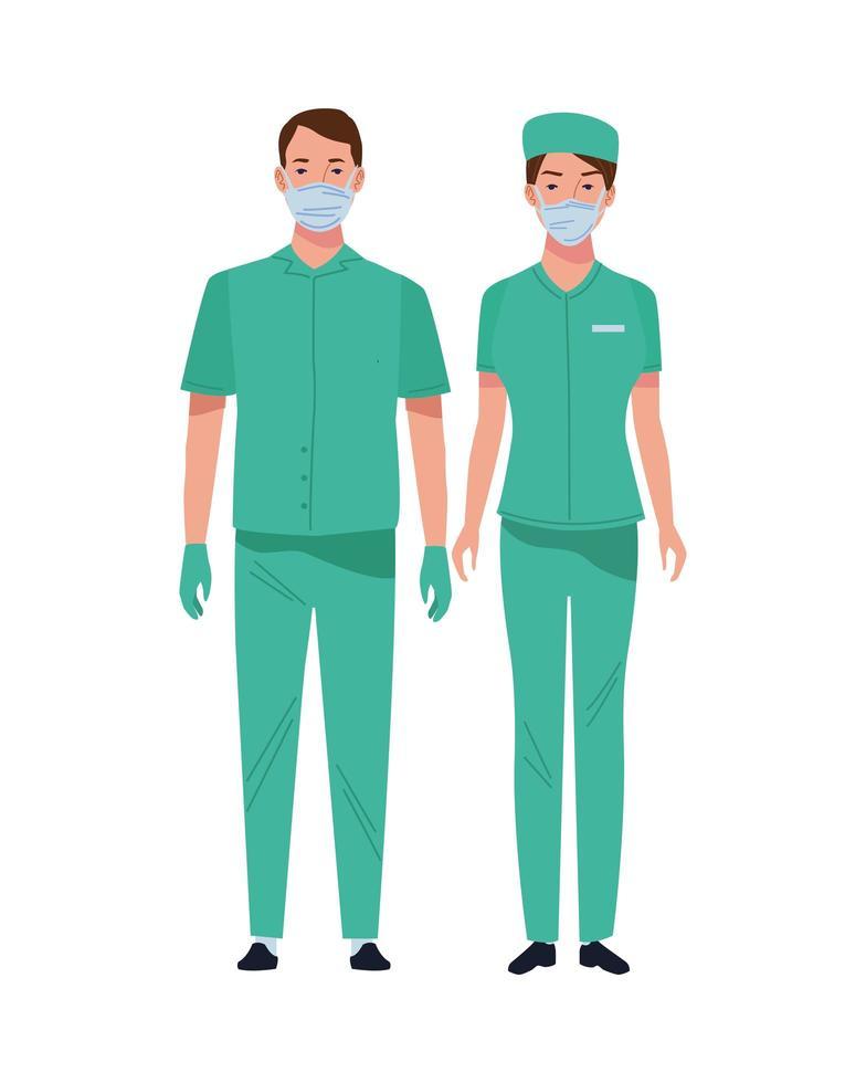 kirurger som bär medicinska masker vektor