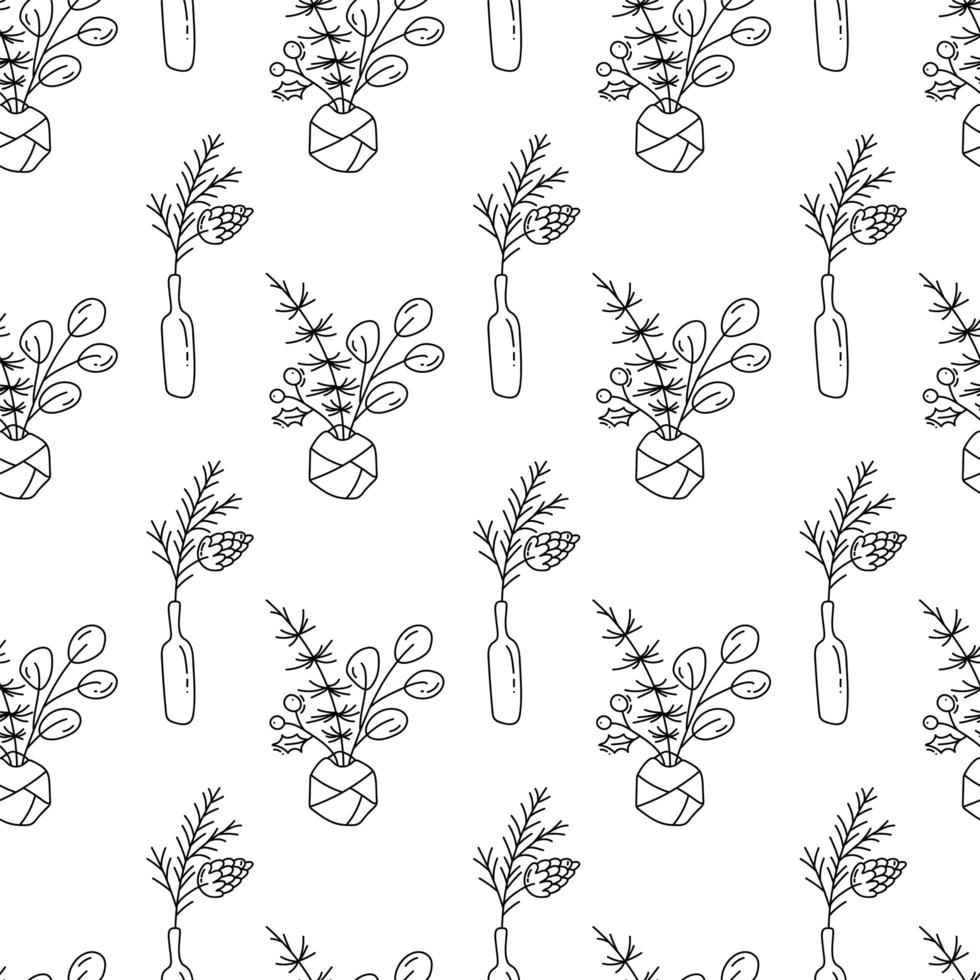 jul monoline sömlösa mönster med växter i flaskor vektor